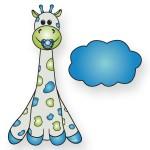 Geboortebord giraffe in blauwe en groen