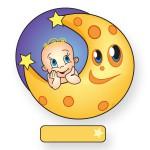 Goedkoop geboortebord van baby op de maan.