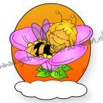 geboortebord Maya de Bij slaapt op bloem